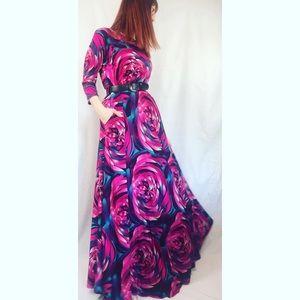 90s Vintage Sexy Diva Bright Floral Maxi Dress